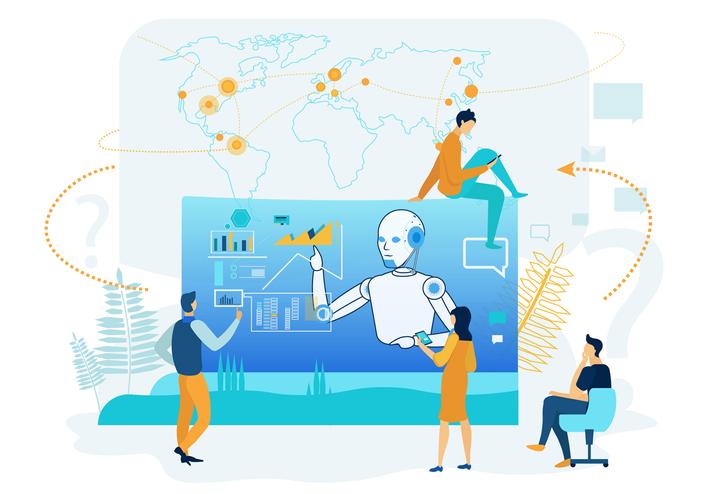 AIによるデジタルマーケティングのイラスト