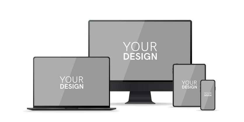 デスクトップPC、ノートPC、タブレット、スマートフォンにYOUR DESIGNと白文字で書かれている