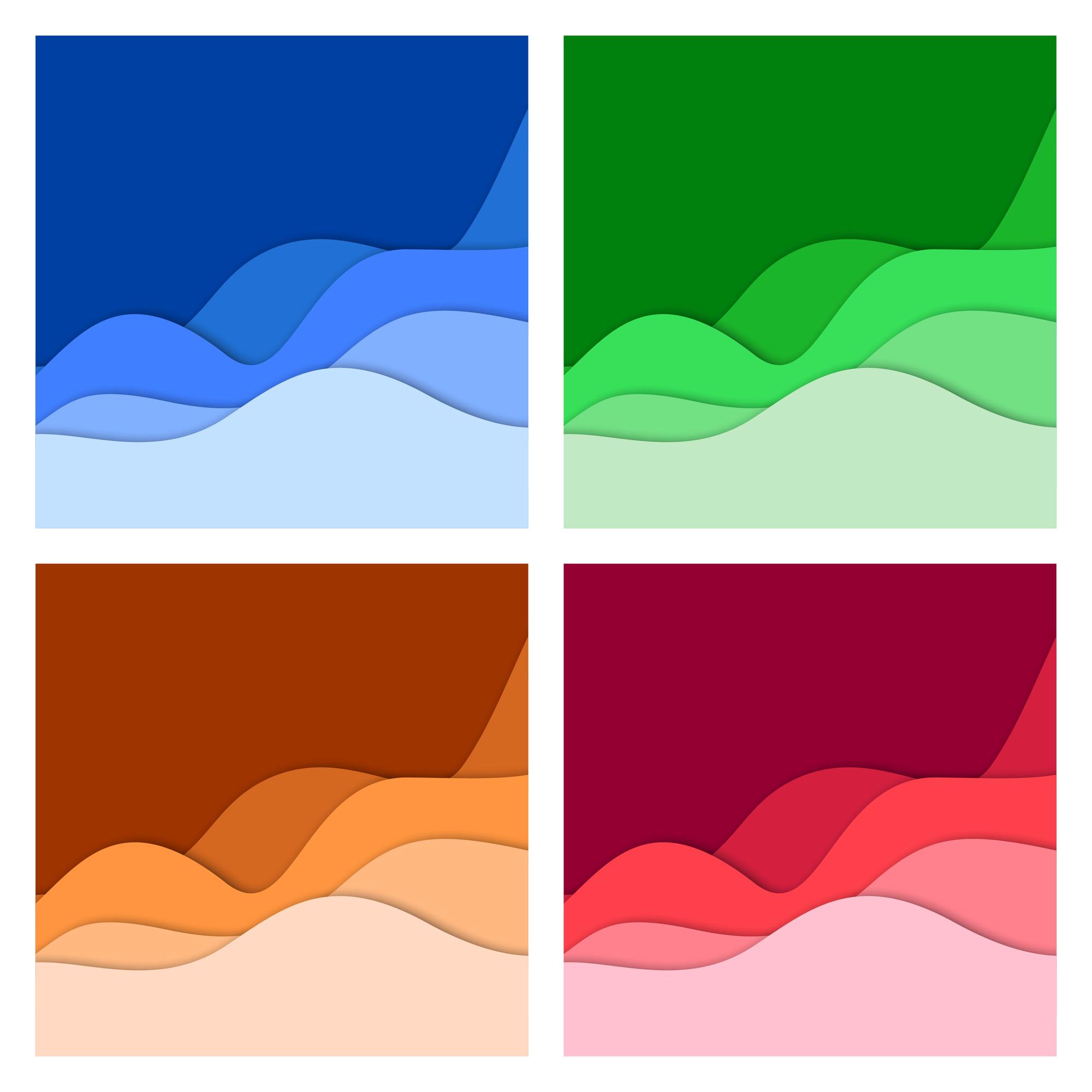背景色が青、緑、オレンジ、赤の4枚の画像