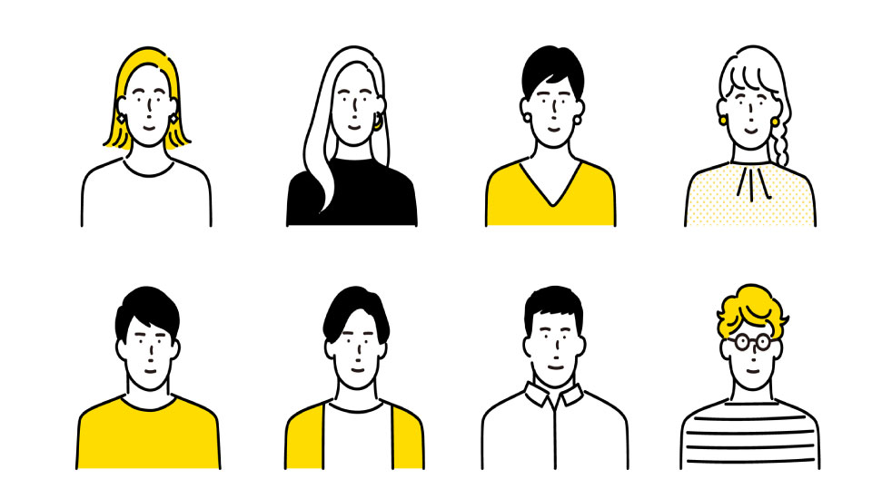 様々な男女のイラスト