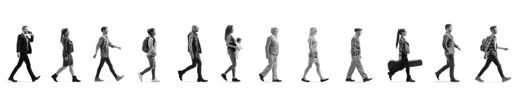 different people walking